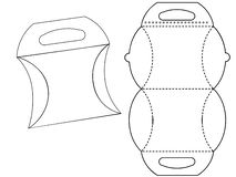Bonbonniere de boîte en carton Carton blanc Carry Box Bag Packaging, d'isolement sur le fond blanc illustration libre de droits