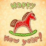 Bonbonpferd des neuen Jahres und des Weihnachten Stockfotos