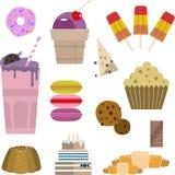 Bonbonsüßigkeitskuchen-Eiscreme-Kuchendonutmuffin Stockfoto