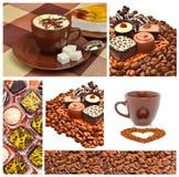 Bonbons à chocolat, petits pains et grains de café Photos stock