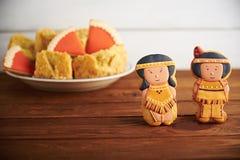 Bonbons à thanksgiving sur un fond en bois Photographie stock