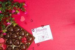 Bonbons au chocolat délicieux dans le boîte-cadeau sur le fond rouge Photo stock