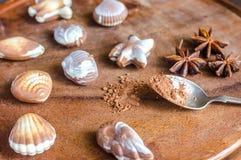 Bonbons au chocolat de luxe sous forme de fruits de mer Image stock