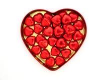 bonbons au chocolat en forme de coeur rouges Images libres de droits