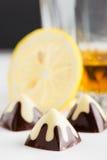 Bonbons au chocolat noirs et blancs Photo libre de droits