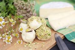 Bonbons avec du fromage de Gorgonzola avec du chocolat blanc photo stock