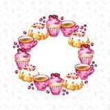 Bonbons, baies et cadre de rond de thé Tous les éléments sont isolés et illustration de vecteur