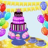 Bonbons colorés à anniversaire sur la table Fond d'anniversaire illustration de vecteur