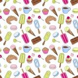 Bonbons, die Muster wiederholen Mehrfarbige Gekritzelgute sachen Stockfotos