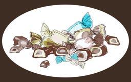 Bonbons en emballages colorés et chocolat coupé avec la gelée et le remplissage crème Illustration de vecteur illustration de vecteur