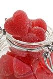 Bonbons en forme de coeur rouges à gelée Photographie stock libre de droits