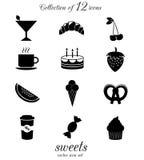 Bonbons, ensemble d'icône de sucreries Photo stock