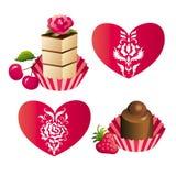 Bonbons et coeurs Photos stock
