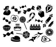 Bonbons, Früchte und Kuchen: Vektorsatz Lizenzfreies Stockfoto