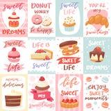 Bonbons marquant avec des lettres le petit gâteau de confiserie de vecteur pour signer et le dessert doux de chocolat de confecti illustration libre de droits