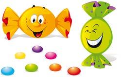 Bonbons mit glücklichem Lächeln lizenzfreie abbildung