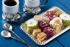 Bonbons orientaux Lokum de rahat de plaisir turc Photographie stock libre de droits