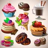bonbons réglés à restaurant agréable d'idée de conception de café Illustration de vecteur Image stock