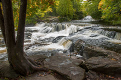 Bond Falls. The beautiful and popular Bond Falls of Michigans Upper Peninsula as it tumbles through the vivid colors of a northwoods autumn Royalty Free Stock Photo