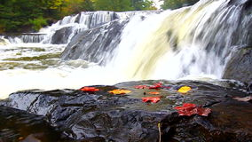 Bond Falls Northwoods Michigan. Autumn foliage surrounds the cascading waters of Bond Falls in northern Michigan stock video