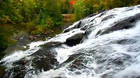 Bond Falls Northwoods Michigan. Beautiful Bond Falls flows through the forests of northwoods Michigan stock video