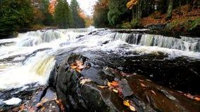 Bond Falls - Upper Peninsula of Michigan. Bond Falls near Paulding, Michigan in the Upper Peninsula of Michigan in Autumn season stock footage