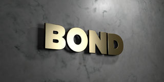 Bond - Gold sign mounted on glossy marble wall  - 3D rendered royalty free stock illustration Stock Image