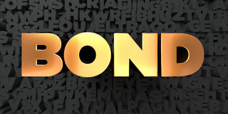 Bond - Gold text on black background - 3D rendered royalty free stock picture Stock Image