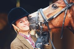 Bond between horse and rider Stock Image