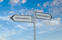 Bond market and stock market. Road signs to bond market and stock market stock photos