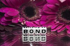 Bond message with pink flowers. In the background stock photography