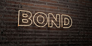 BOND -Realistic Neon Sign on Brick Wall background - 3D rendered royalty free stock image Royalty Free Stock Image