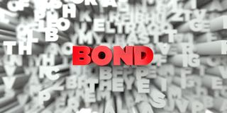 BOND -  Red text on typography background - 3D rendered royalty free stock image Stock Images