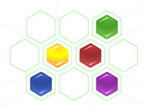 Bond scheme of hexagons and dotted lines. Vector diagram consisting of colored hexagons and dotted tie lines Stock Photos