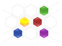 Bond scheme of hexagons and gray lines Royalty Free Stock Image