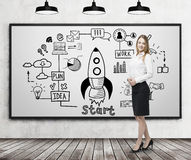 Bond woman and rocket poster, whiteboard Royalty Free Stock Photography