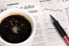 Bond Yields. Looking at the morning paper and watching the markets drop stock images