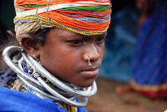 Bonda Girl. Bonda Poraja tribes are the scheduled castes. In the southwestern provinces of Orissa-India, these Bonda Poraja tribes reside in every nook and Stock Photography