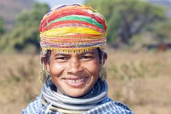 Bonda tribal woman. Orissa has 62 distinct tribal groups, making it the largest collection of tribal people in a single state in the country. The Bonda are an Royalty Free Stock Photos