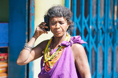 Bonda tribal woman with mobile phone Royalty Free Stock Photo