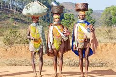 Bonda tribal women. The antiquity of Orissa is endorsed by her ancient people who continue to inhabit their traditional dwelling places in remote areas in the Royalty Free Stock Image