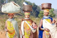Bonda tribal women. The antiquity of Orissa is endorsed by her ancient people who continue to inhabit their traditional dwelling places in remote areas in the Royalty Free Stock Photography