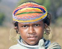 Bonda tribal young female. India: the antiquity of Orissa is endorsed by her ancient people who continue to inhabit their traditional dwelling places in remote Stock Images
