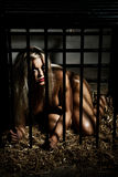 Bondage art style with beautiful nude girl in cage Royalty Free Stock Photo
