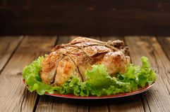 Bondage shibari roasted chicken with salad leaves on red plate o. N wooden background with dark space vertical stock images