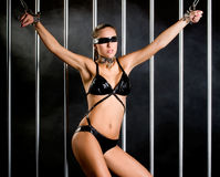 Bondage style with  a sexy woman dressed in lingerie Royalty Free Stock Photos