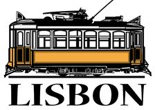Bonde amarelo clássico velho de Lisboa ilustração do vetor