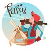 Bonde Country Woman Hold som rullar Pin Farmland Background Cartoon Character vektor illustrationer