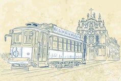 Bonde da rua em Porto, Portugal ilustração stock