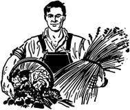 Bonde With Fresh Produce stock illustrationer